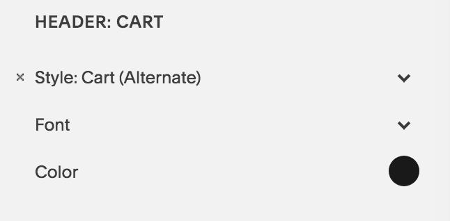 Cart alternate top navigation Squarespace