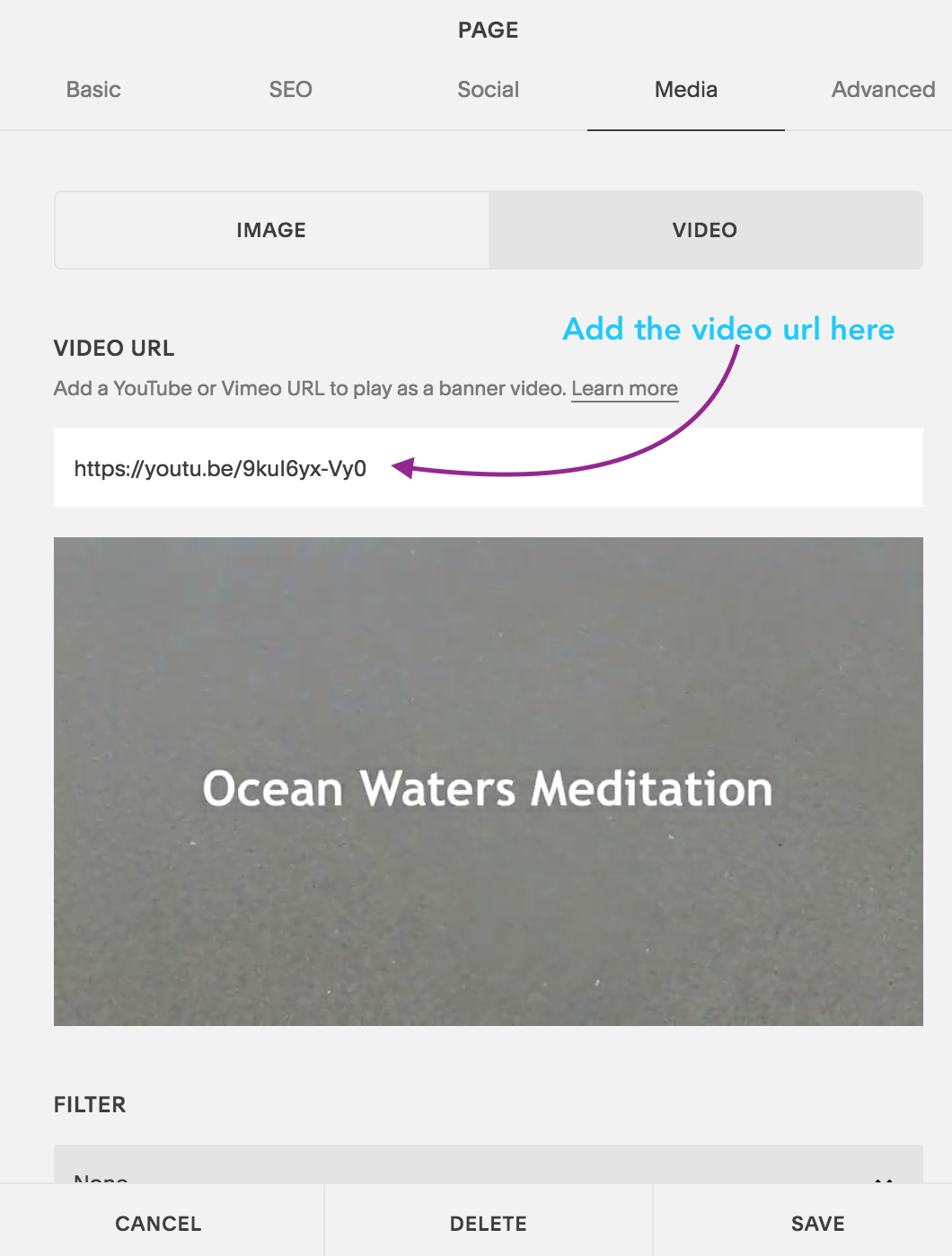 Page Settings for adding Video clip in banner