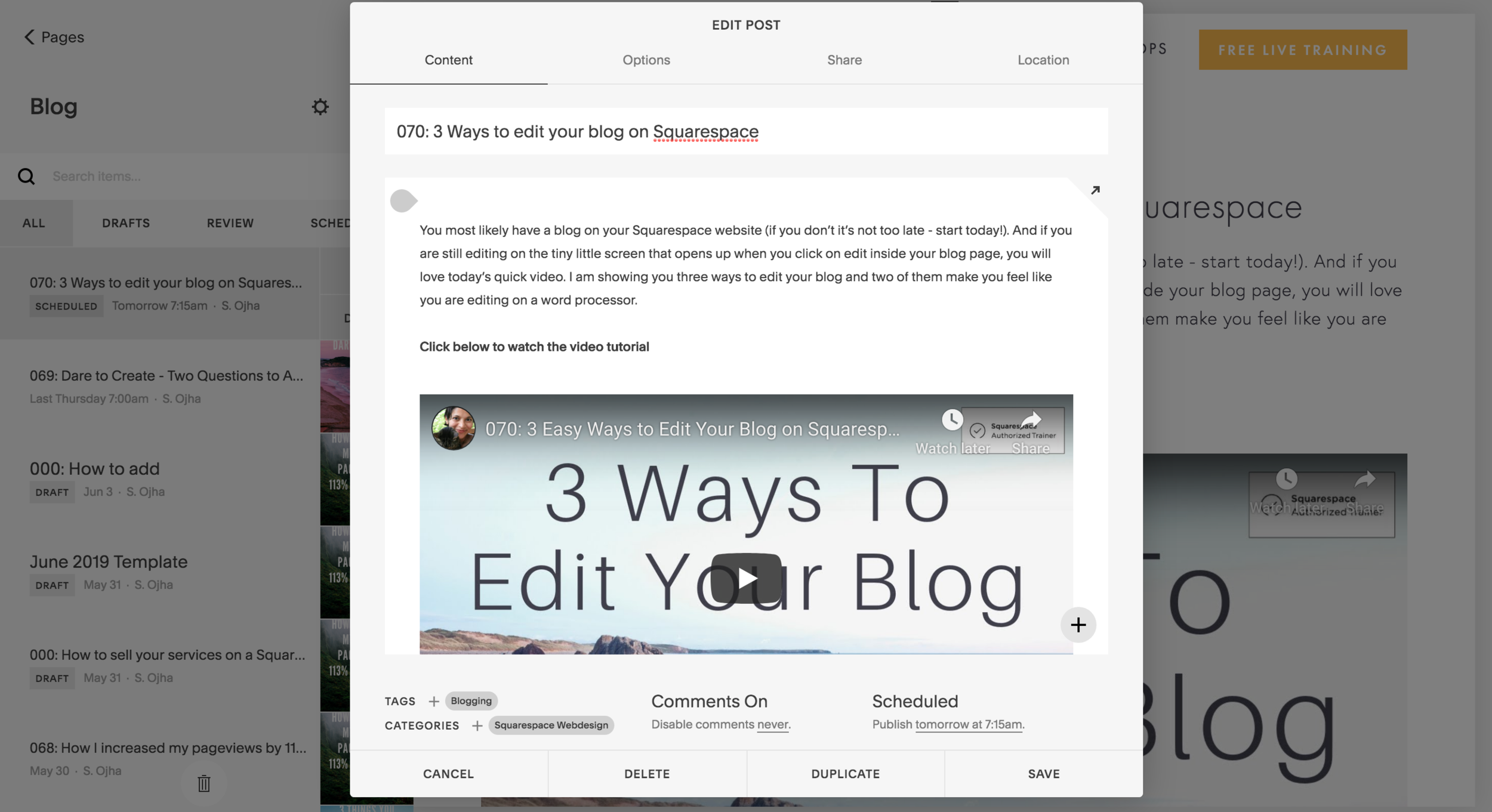 Blog is easy to update on Squarespace