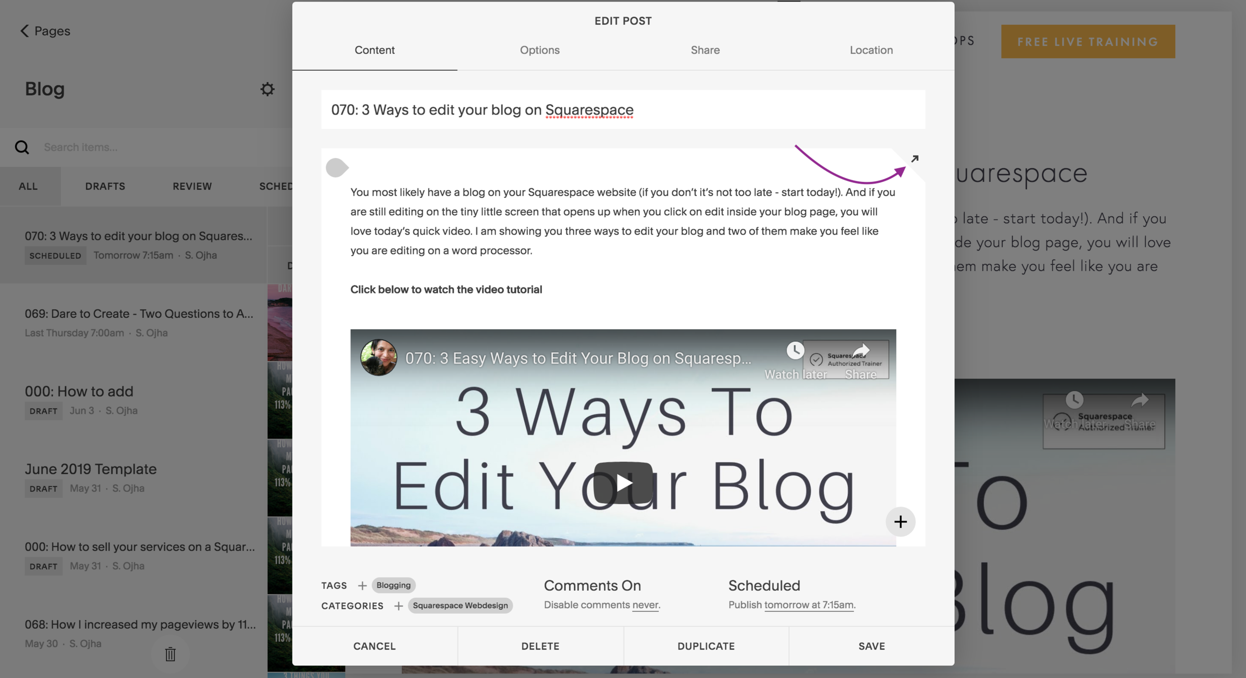 Squarespace for bloggers