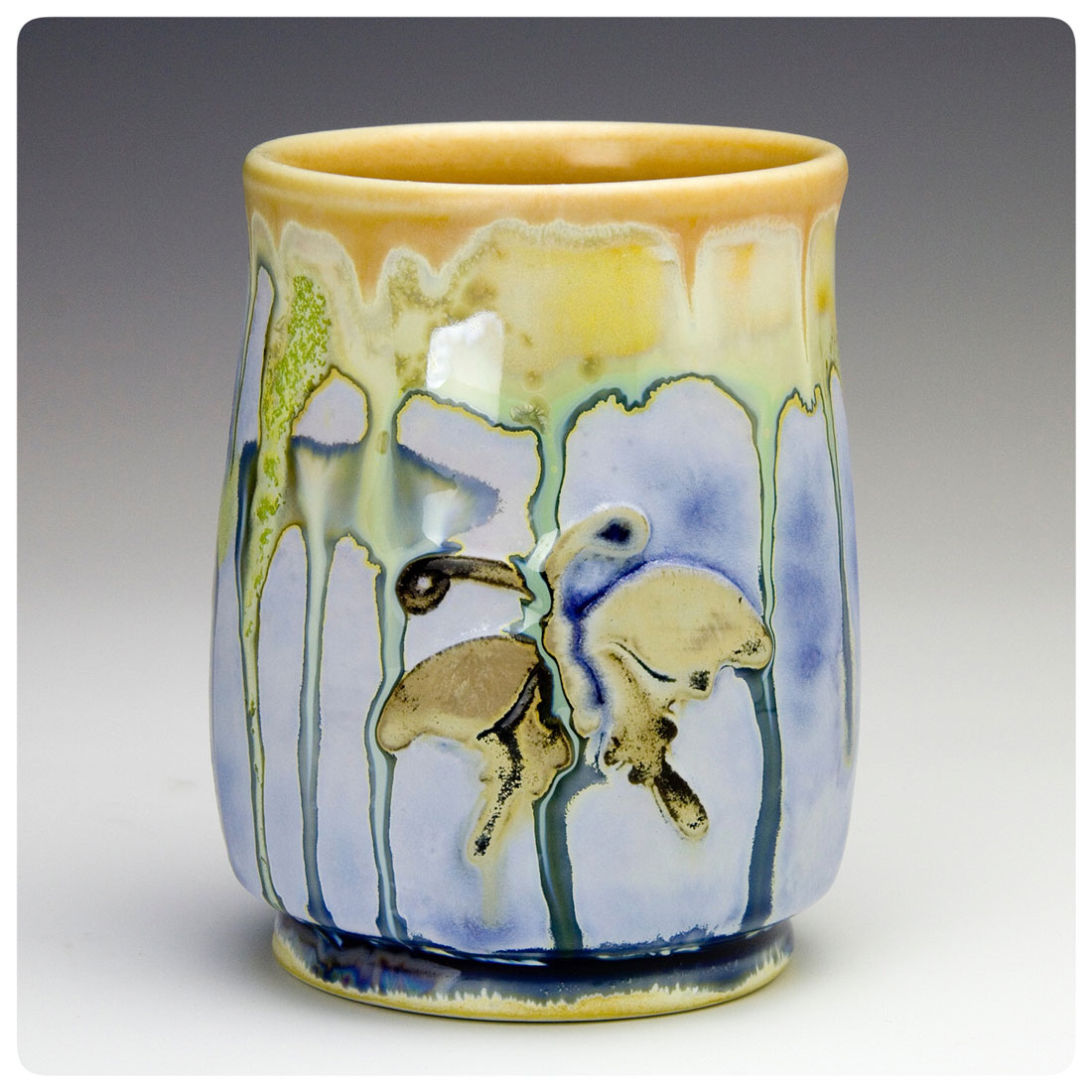 Crystalline Butterfly Cup made by Samantha Henneke, Bulldog Pottery, Seagrove, North Carolina