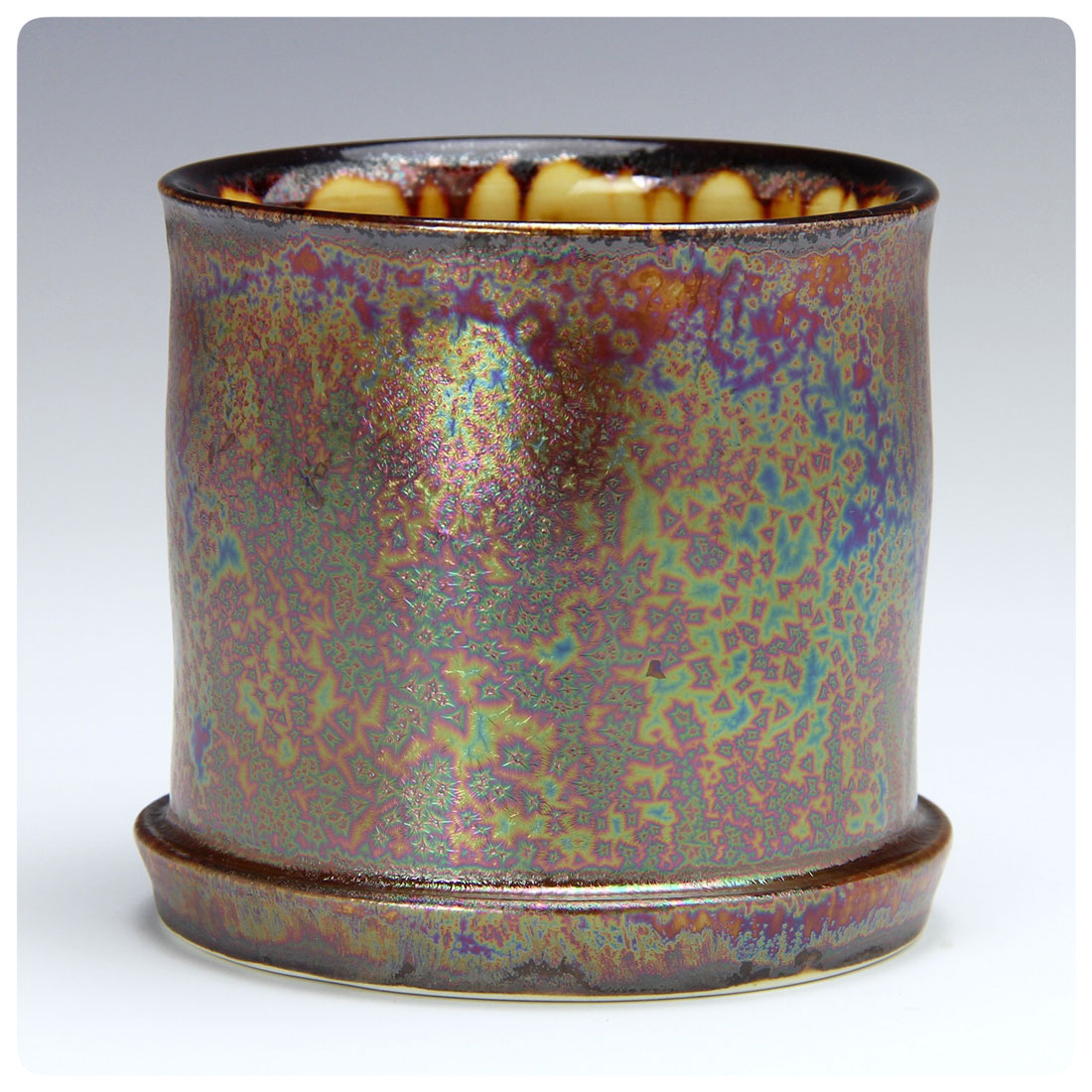 Purple Haze Crystalline Cup made by Bruce Gholson, Bulldog Pottery, Seagrove, North Carolina