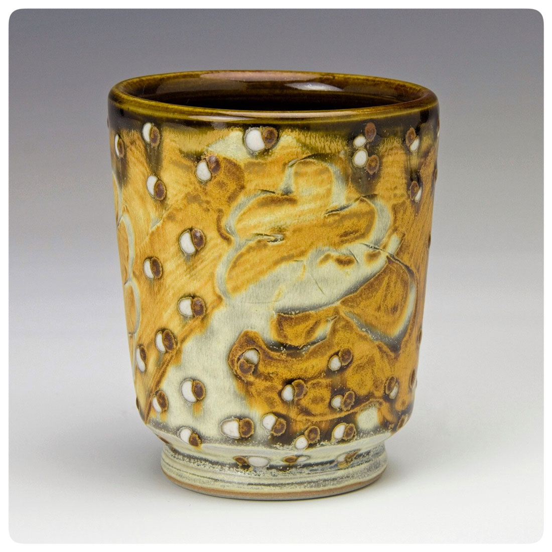 Drinking Cup with brush and dotted pattern made by Samantha Henneke | Bulldog Pottery |Seagrove | North Carolina