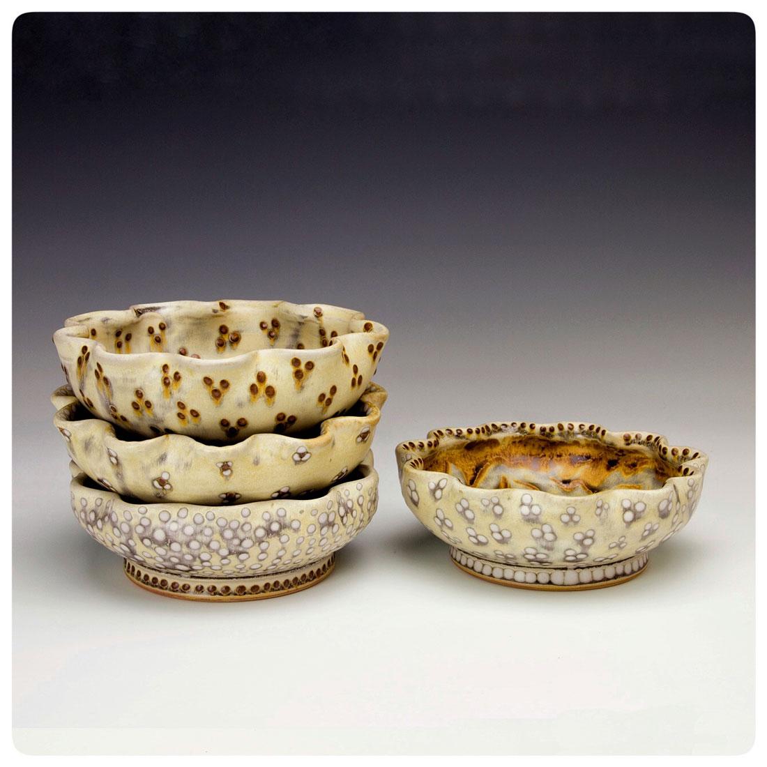Bowls with scalloped rim & varied patterns by Samantha Henneke | Bulldog Pottery | Seagrove | North Carolina