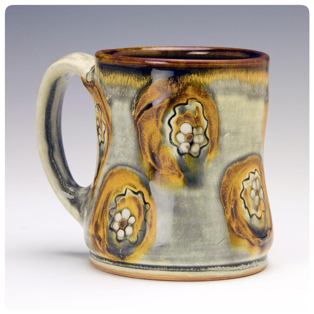 Mug with brush abstract floral deco made by Samantha Henneke | Bulldog Pottery | Seagrove | North Carolina