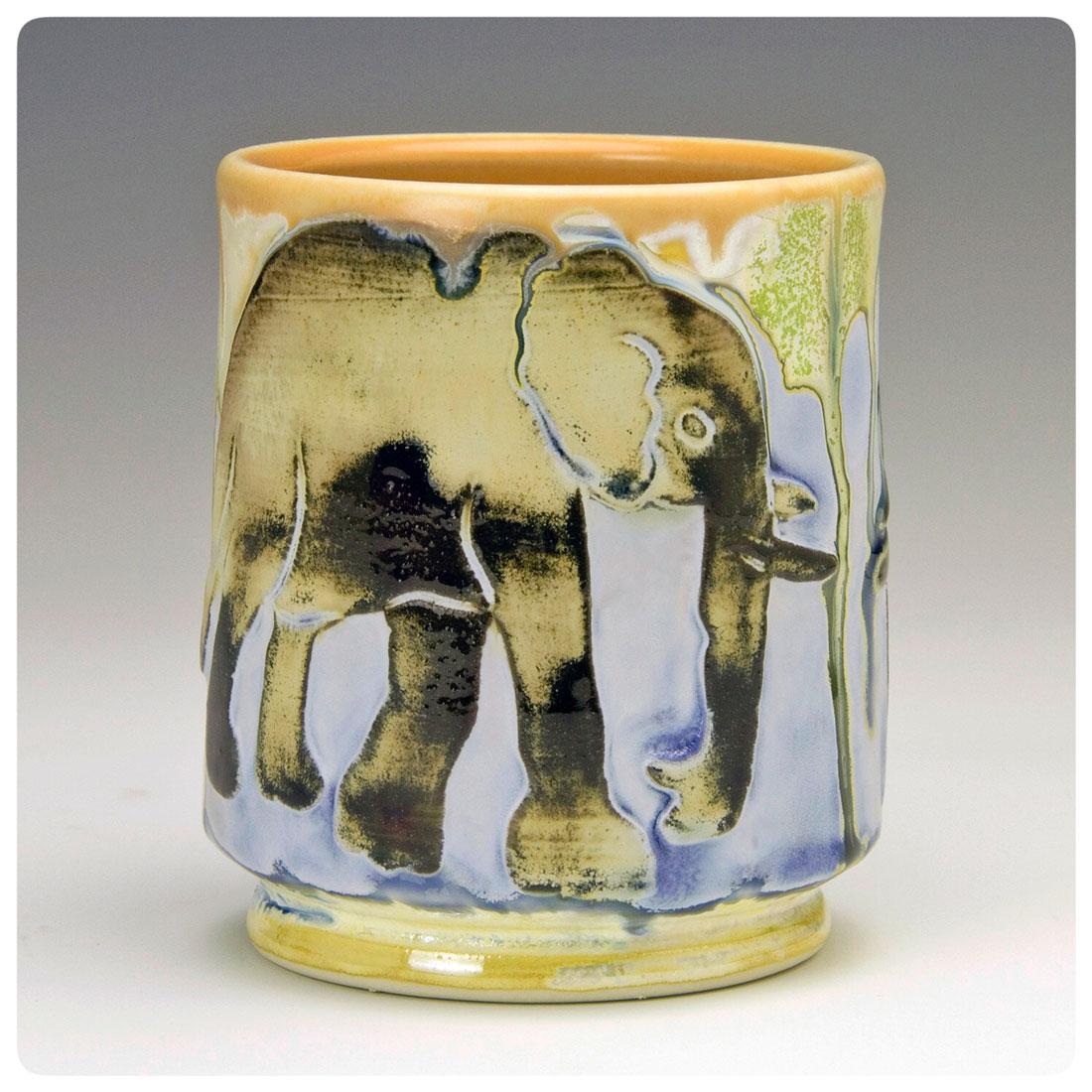 Elephant Cup made by Samantha Henneke Henneke | Bulldog Pottery | Seagrove | North Carolina