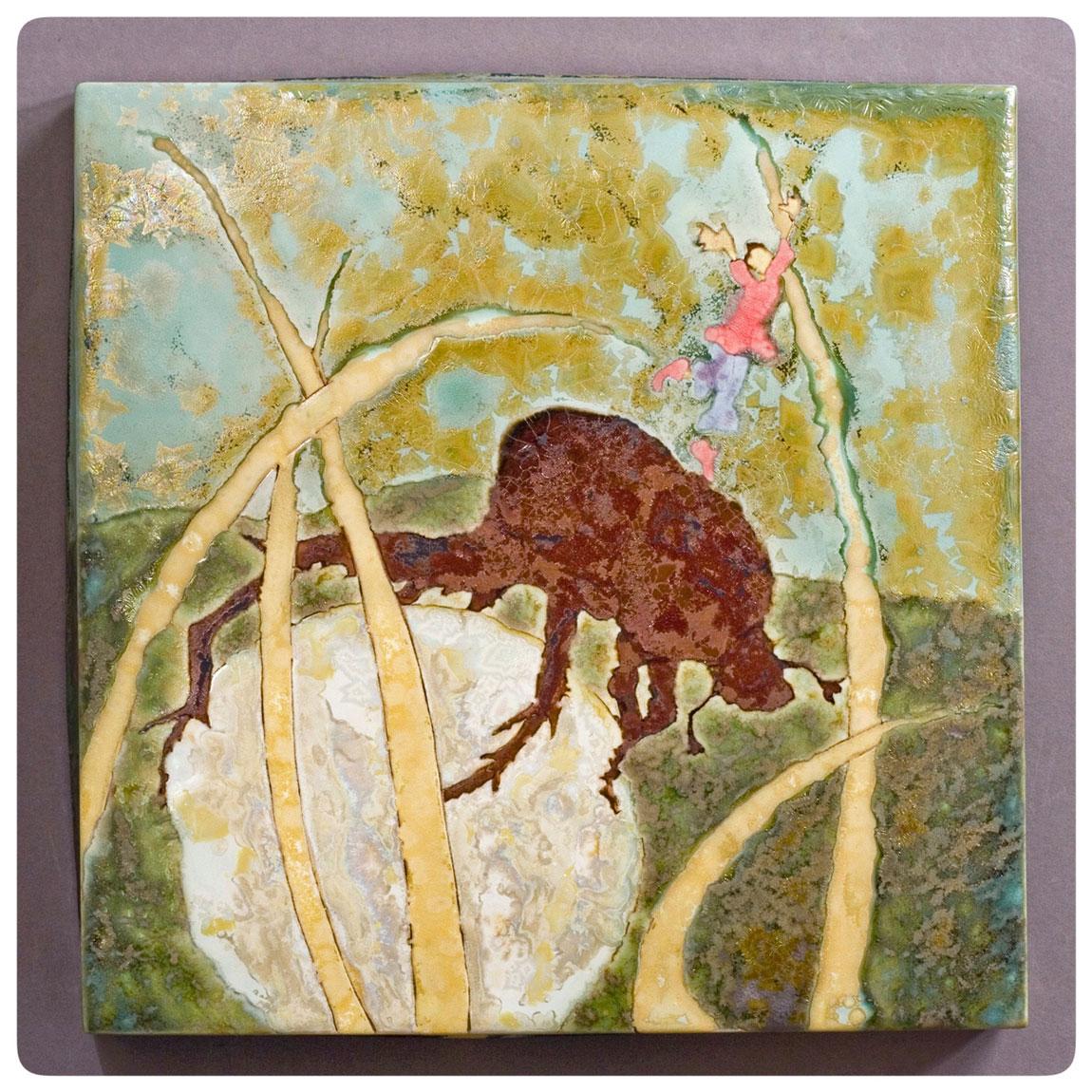 Dung Beetle and Girl Glaze Painting by Samantha Henneke | Bulldog Pottery | Seagrove | North Carolina