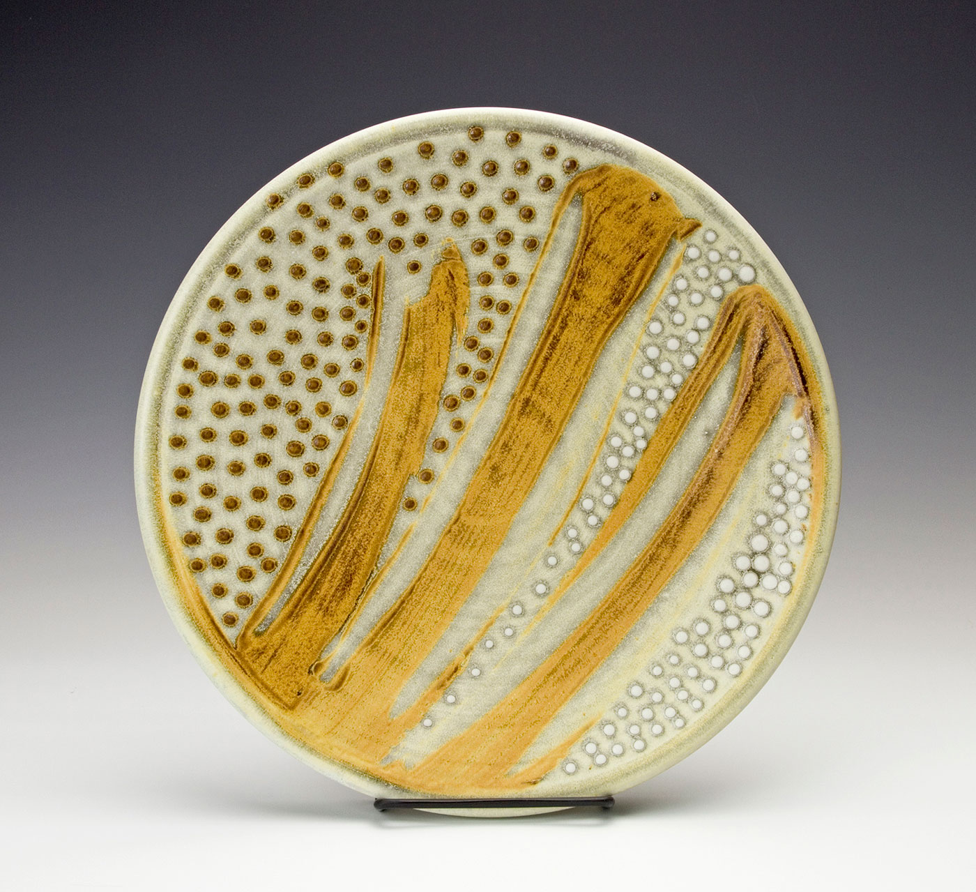 Moka-Bronze-plate-with-brown-and-white-dots-Samantha-Henneke-Seagrove-Pottery.jpg