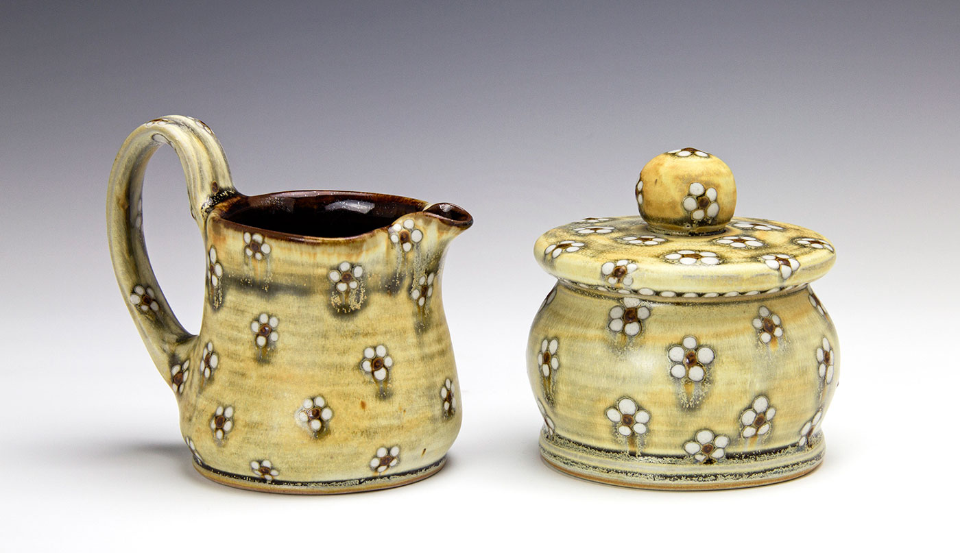 Sugar-and-Creamer-with-white-flower-dot-pattern-contemporary-clay-Samantha-Henneke.jpg