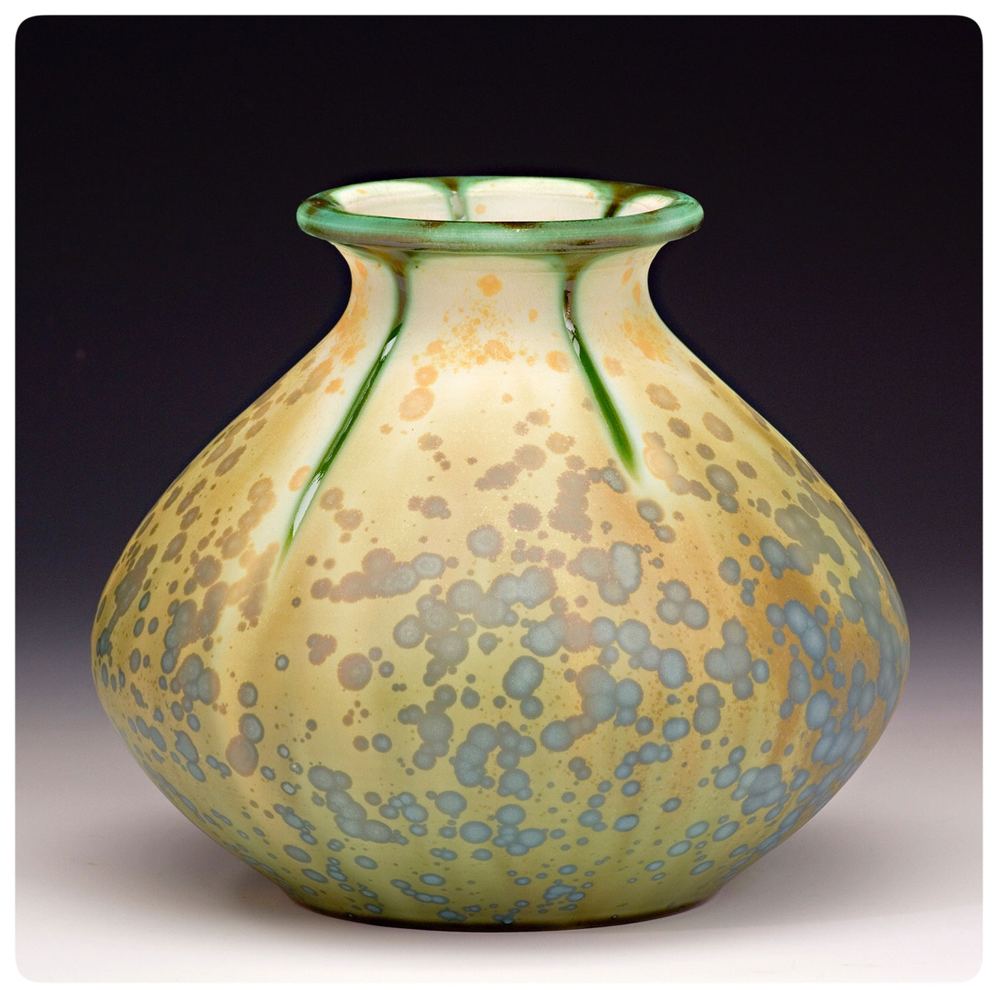 Matte Crystalline Art Pottery Vase made by Bruce Gholson, Seagrove, North Carolina