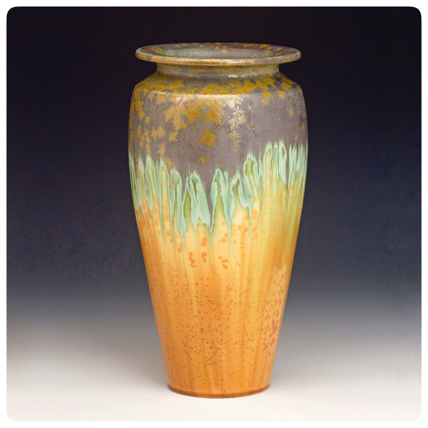 Art Pottery Crystalline Vase made by Bruce Gholson, Bulldog Pottery, Seagrove, North Carolina