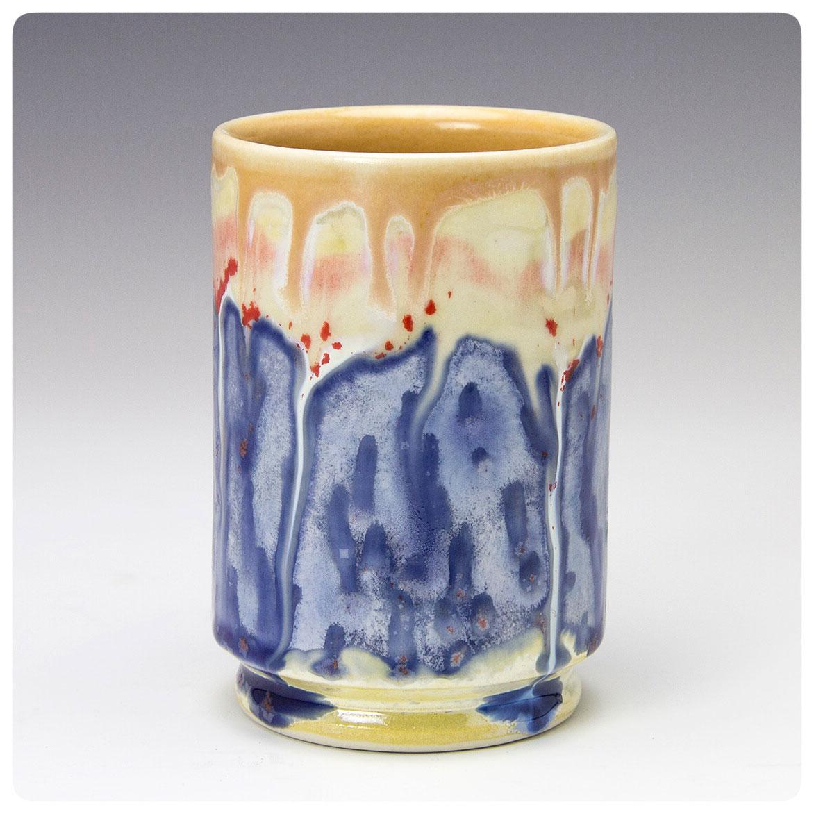 Creative Flow Art Cup made by Samantha Henneke, Bulldog Pottery, Seagrove, North Carolina