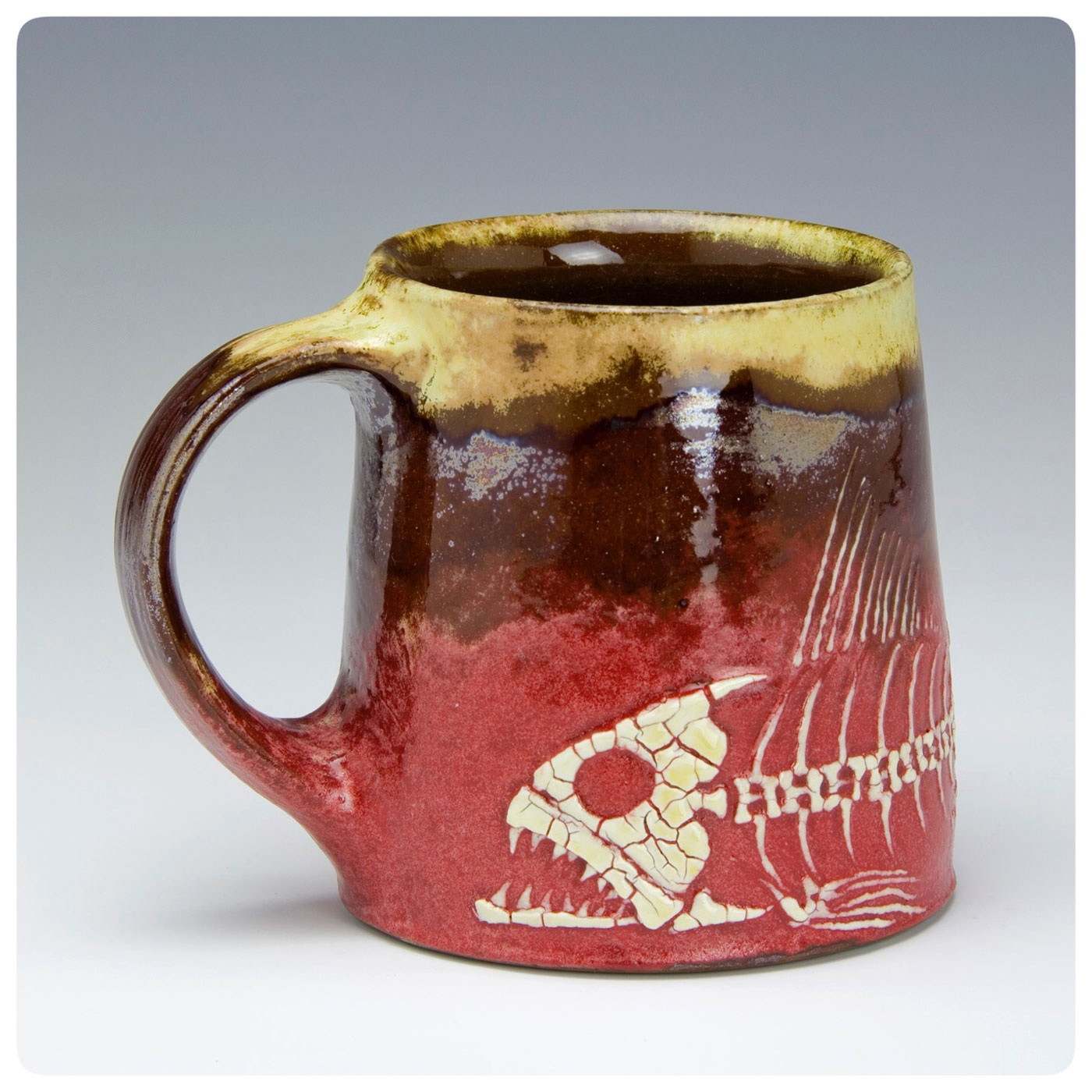Fossil Fish Art Cup made by Bruce Gholson, Bulldog Pottery, Seagrove, North Carolina