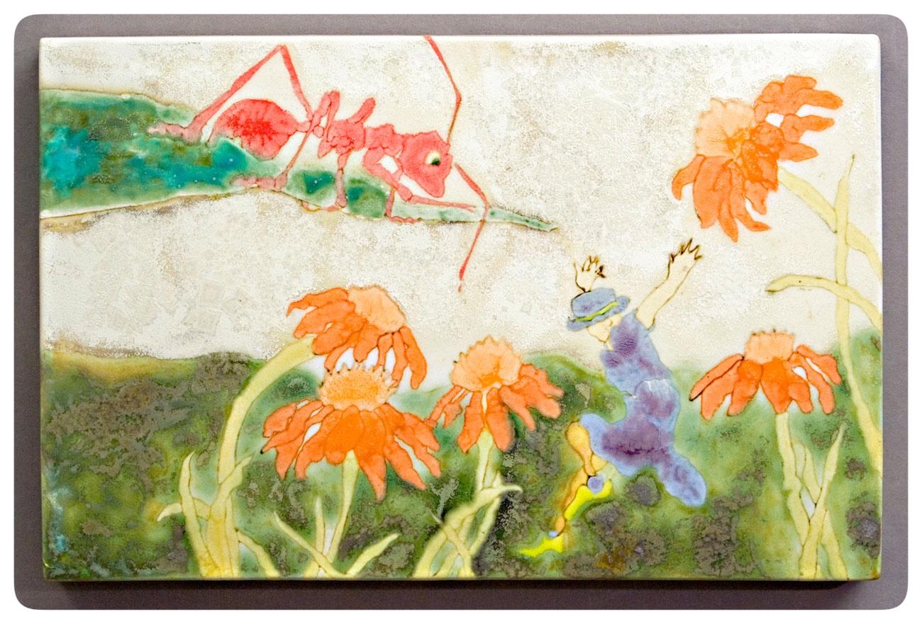 Ant and Jumping Girl glaze painting by Samantha Henneke | Bulldog Pottery | Seagrove | North Carolina