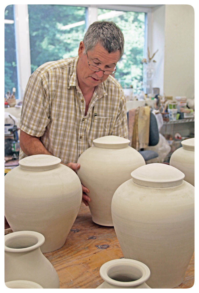 Bruce Gholson in the studio finishing his Covered Jar series. North Carolina POttery has A long history in the Seagrove. Pottery Community