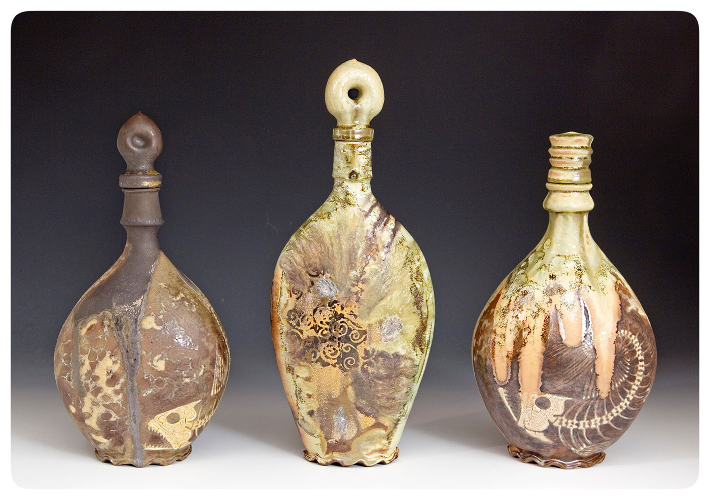 three Crystalline Flasks with cork and Finial, Bruce Gholson, Bulldog POttery, Seagrove, North Carolina