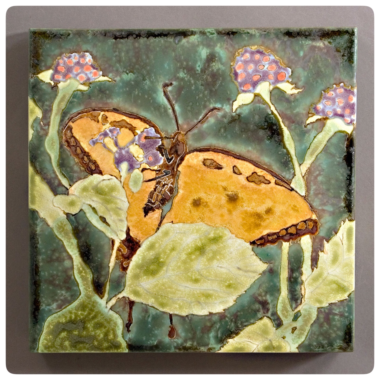 Butterfly glaze painting by samantha henneke, seagrove, NC