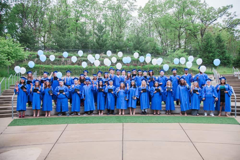 Recent students celebrate at graduation.