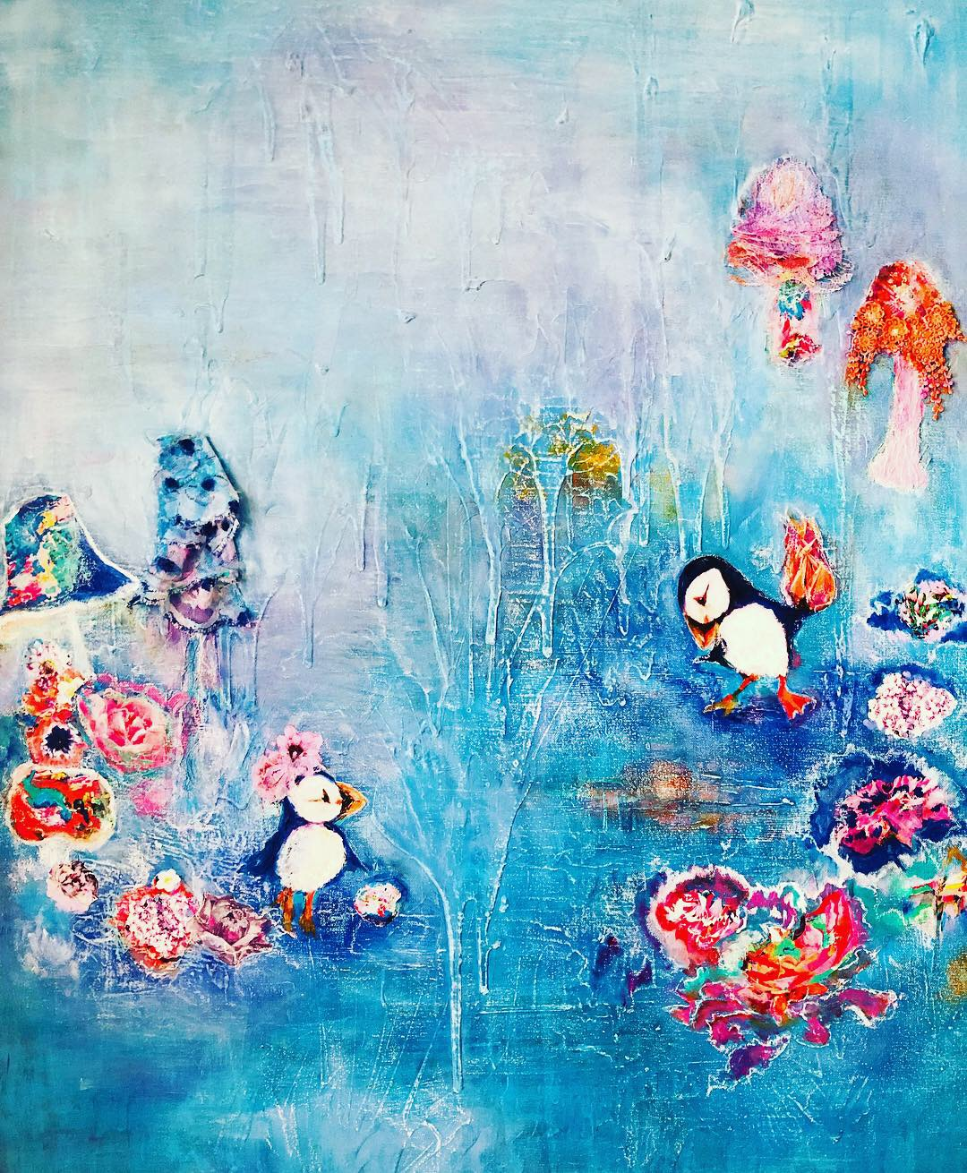 The Puffins: The First Date, 2019  40 x 30 x 1.5 in  Lace, Art Paper, Acrylic, Pastel and Oil