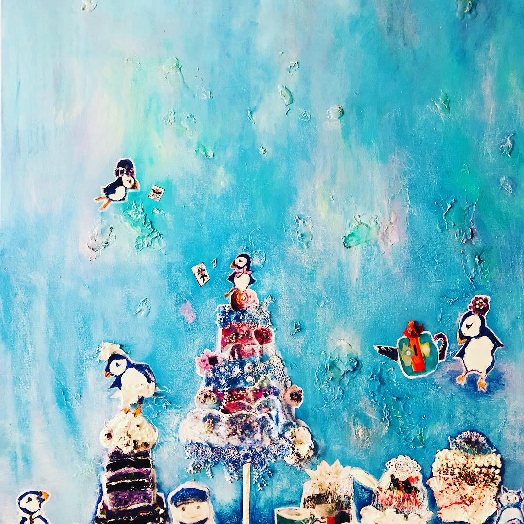 The Puffins: The Tea Party, 2019  48 x 36 x 1.5 in  Mixed Media