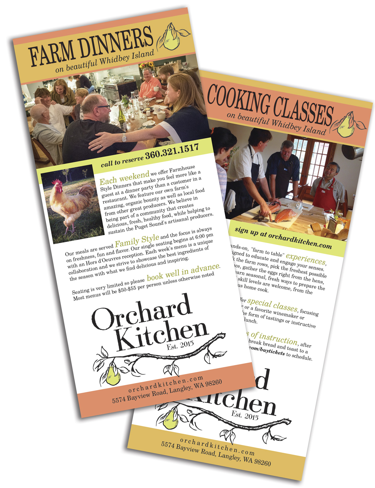 Rack card for restaurant and cooking school , design and printing