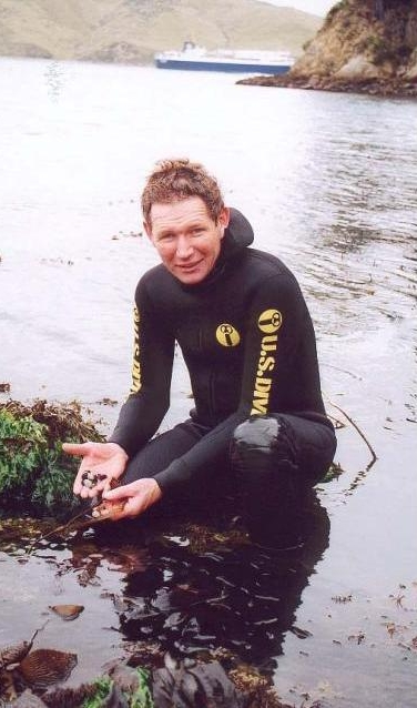 Roger Beattie reseeding Paua