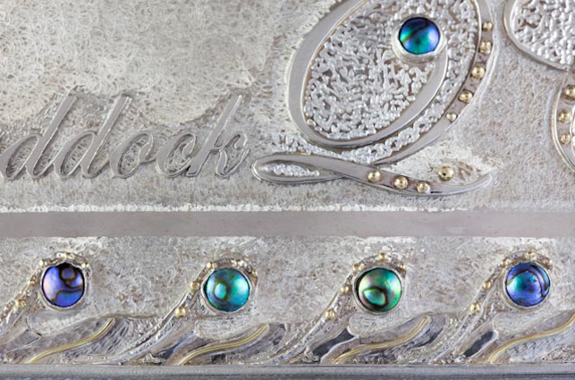 ROAKE SILVER - Constructed sterling silver, 18ct gold, Pacific Blue 7mm C grade blue pearls