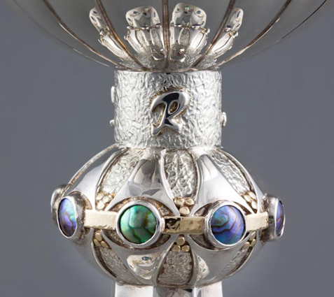ROAKE SILVER - Wine Goblet, hand-raised and chased sterling silver, 18ct gold, Pacific Blue 7mm & 8mm C grade blue pearls.