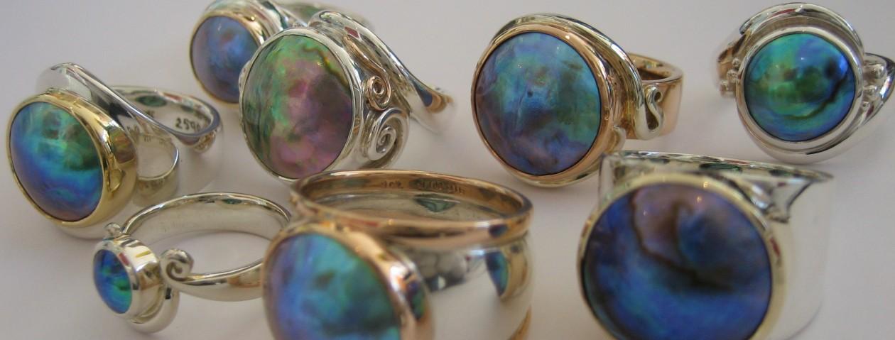 Lauren Harris and Pacific Blue pearls rings