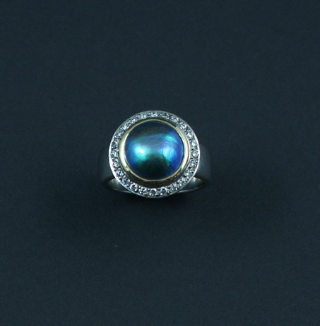 SHERRINGTON'S Blue Pearl With Diamond cluster, Eyris 'A' grade pearl