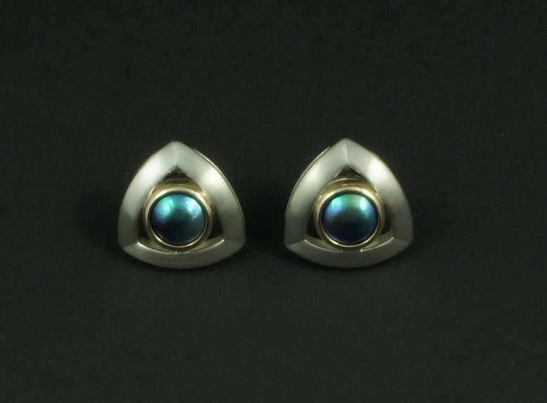 SHERRINGTON'S Triangular Silver & 9ct Earrings, Pacific Blue 'B' grade pearl