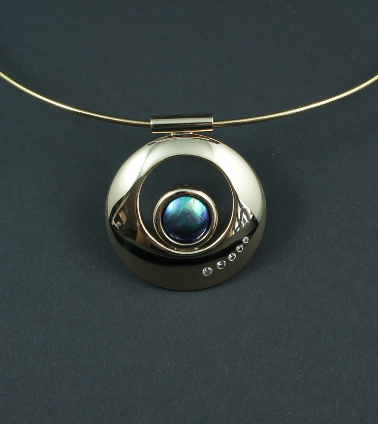 SHERRINGTON'S Round Blue Pearl With Diamonds, Eyris 'A' grade pearl