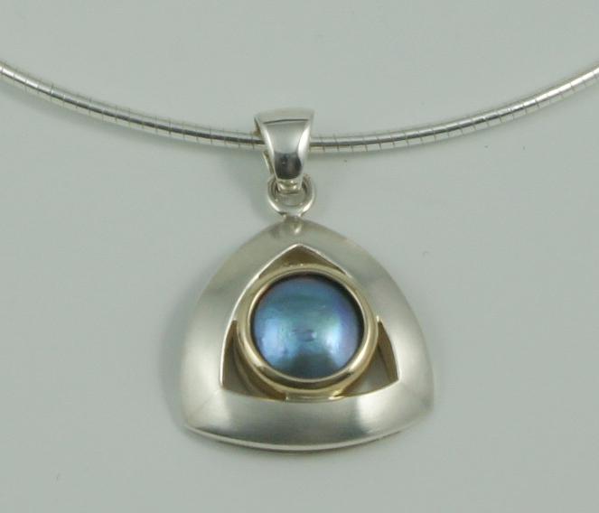 SHERRINGTON'S Triangular Silver & 9ct Pendant, Pacific Blue 'B' grade pearl