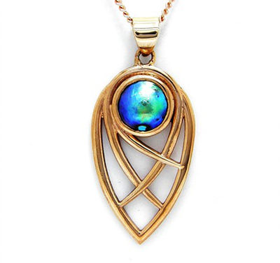 BLOOMS - Pacific Blue 11mm 'C' grade pearl 9ct Rose Gold Open Deco-style teardrop shaped pendant