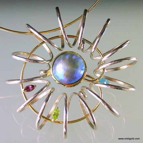 ORBIT - SPRING Pacific Blue Pearl Pendant