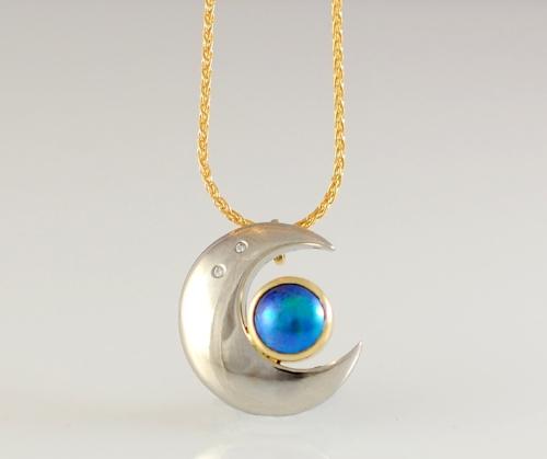 Jewel Beetle- Moon Pendant