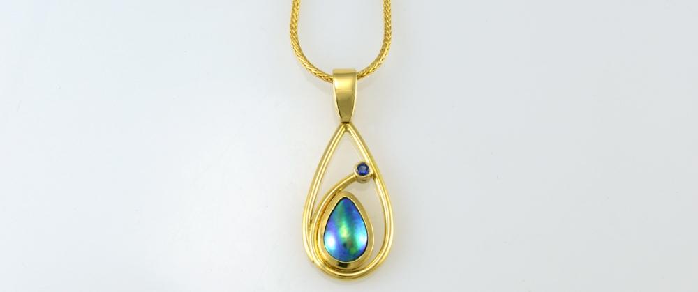 JEWEL BEETLE - Pacific Blue Pearl Teardrop Pendant