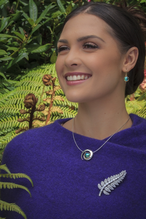 Karla de Beer with the Koru Pearl and Silver Fern