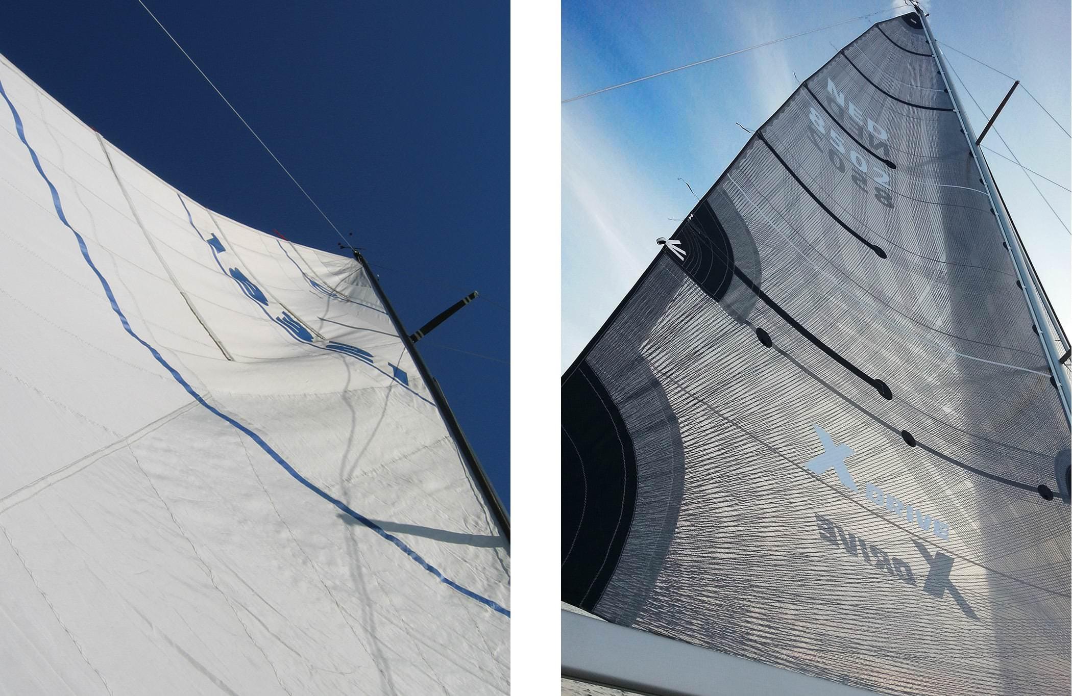 Det urblåsta storseglet till vänster visar på rynkor och en form i seglet där buken hamnat för långt akter ut. Detta hindrar seglet att fungera rent aerodynamiskt. Jämför istället detta med seglet till höger som är slätt X-Drive segel med buken på rätt ställe.