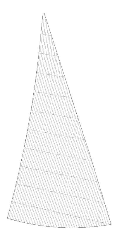 Vid produktion av ett crosscutsegel använder vi en väftorienterad (tvärs) duk där trådriktningen ligger parallell med akterliket.