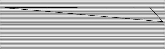 Ovan: En panel utplottad där den svarta linjen visar hur den starka varpen går längs med materialet.
