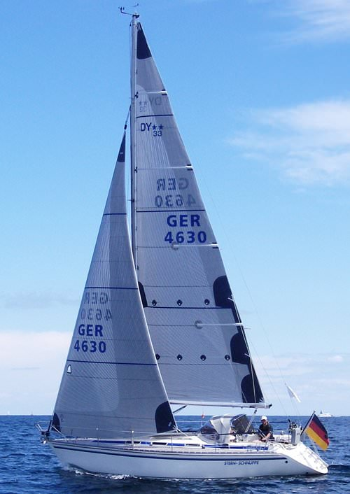 The genoa shown above has taffeta on the part of the sail overlapping the mast to protect the tapes and the sail's mylar layer.