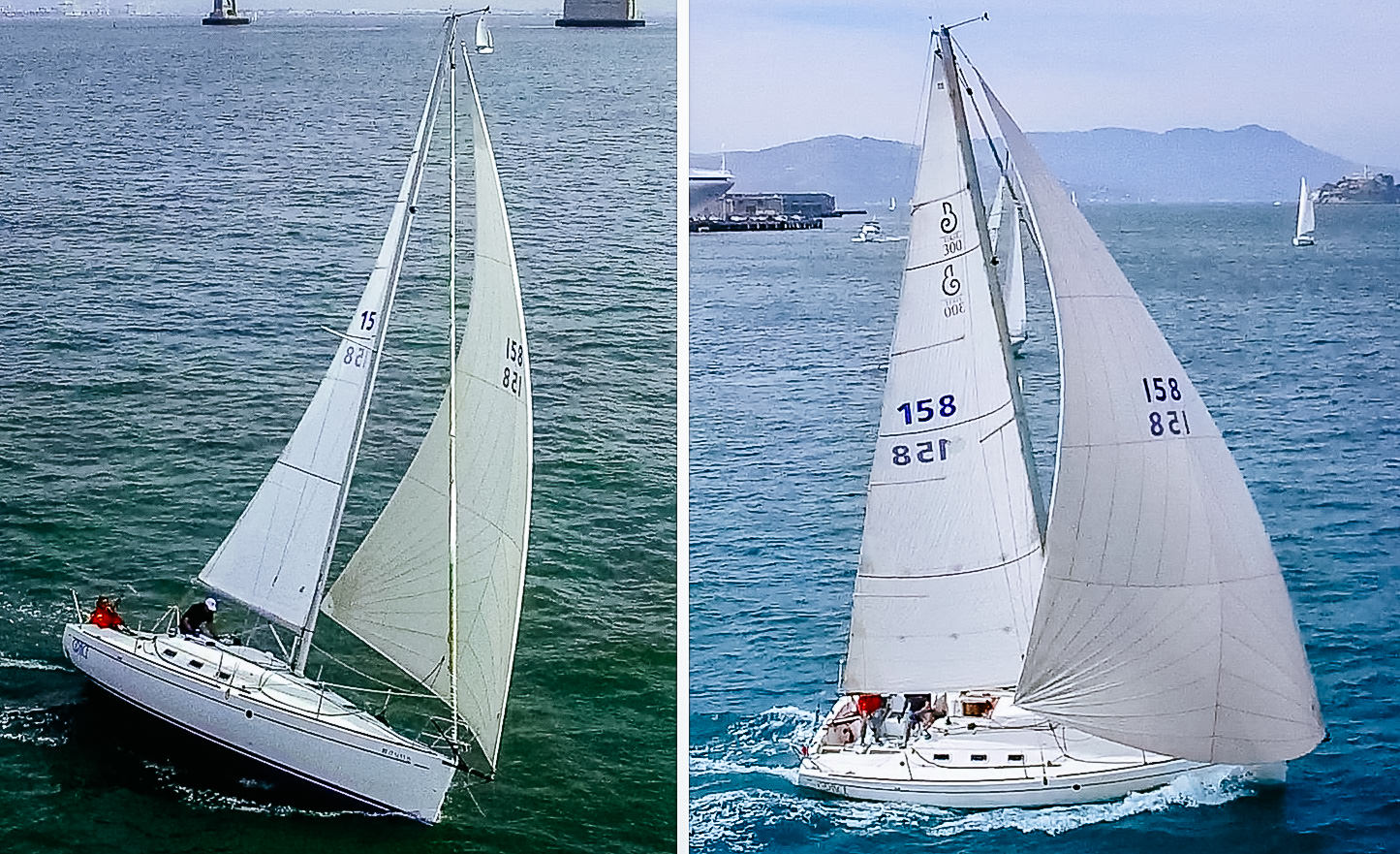 Above Left   : A cruising code zero sailing at 55 degrees apparent wind angle with the halyard as tight as possible to straighten the luff.    Above Right   : the same sail sailing further downwind at 110 degrees apparent wind angle. When sailing deeper angles the halyard can be eased to make the sail fuller.