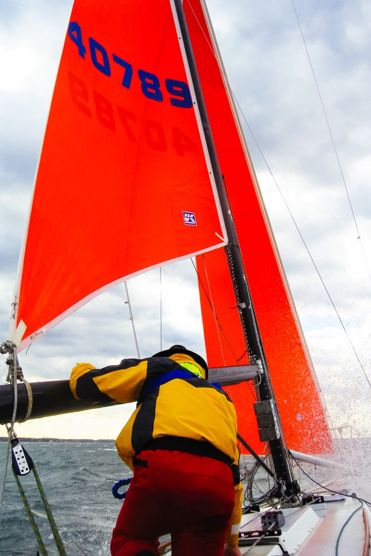 When the trysail's clew is attached to the boom, the main sheet can be used to trim the sail.