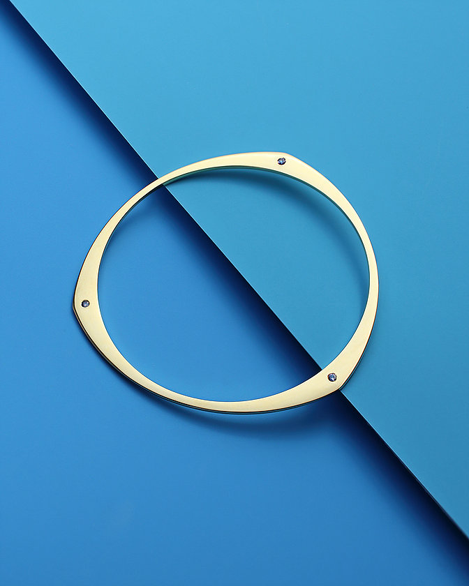 Gold Bangle with Sapphires