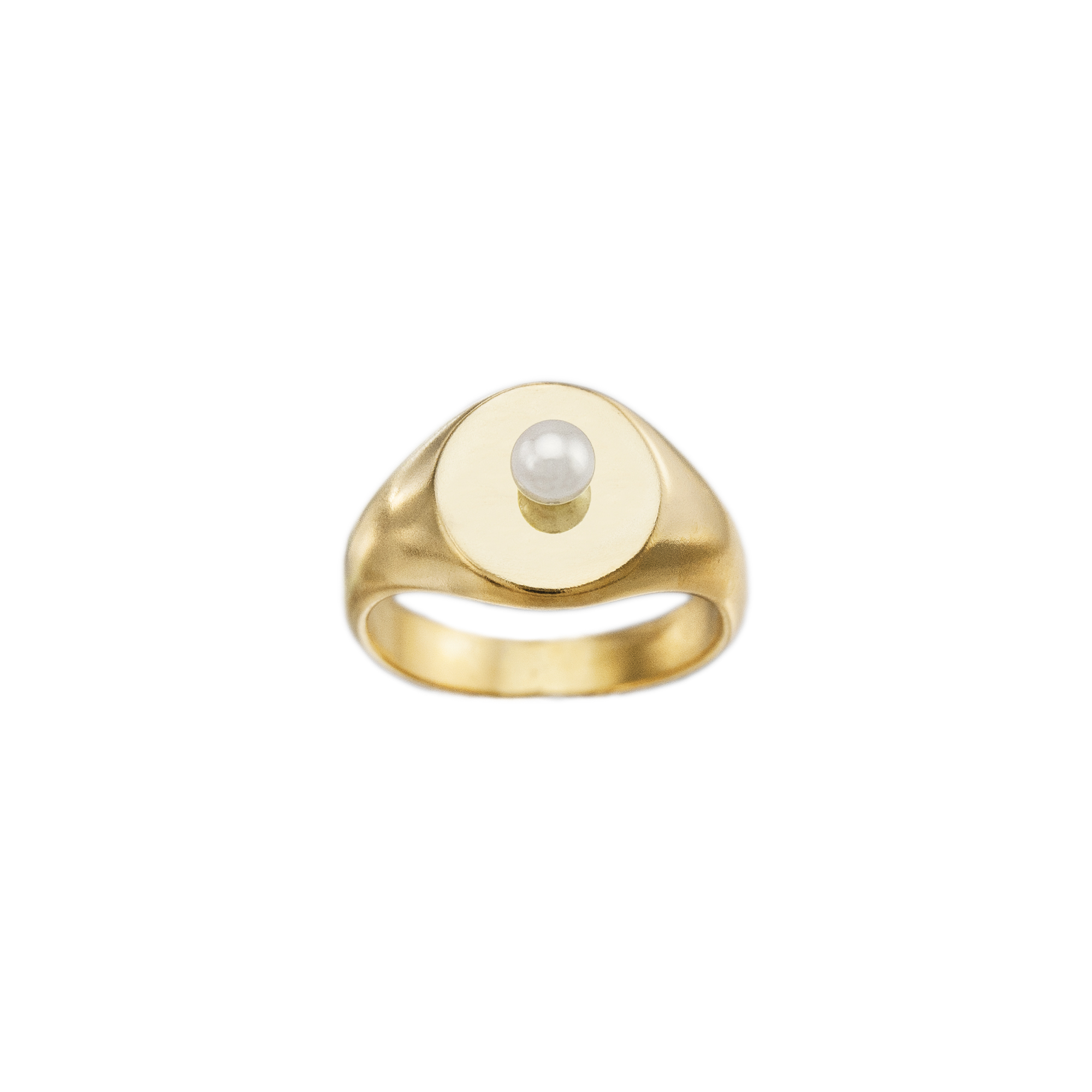 Gold Signet Ring Spice With Pearl