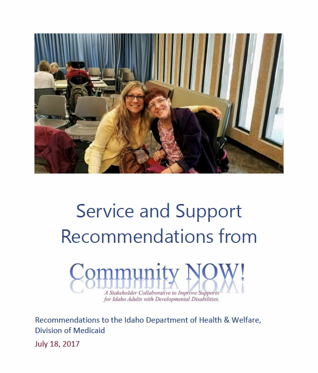 "Cover of the first Community NOW! report: image of two people sitting closely together, above the title--""Service and Support Recommendations from Community NOW!"""
