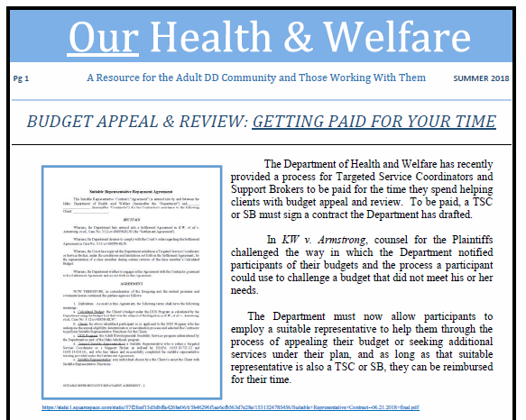Our Health and Welfare Summer 2018 suitable representative newsletter