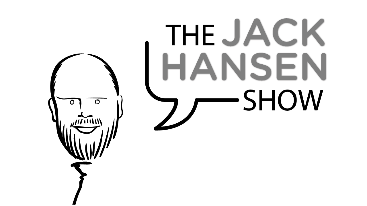 "The Jack Hansen Show logo (cariacature drawing of Jack Hansen, with ""The Jack Hansen Show"" in a speech bubble)"