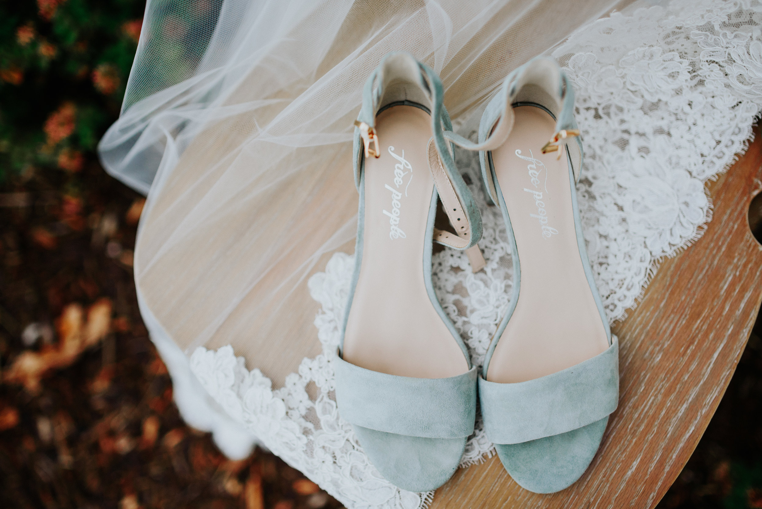 blue free people wedding shoes with veil